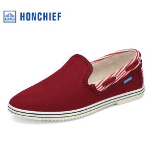 HONCHIEF 红蜻蜓旗下春季新款简约百搭布鞋日常居家舒适男单鞋子