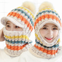 帽子女冬天时尚韩版毛线加绒加厚针织帽骑车帽保暖冬季护耳帽围脖一体