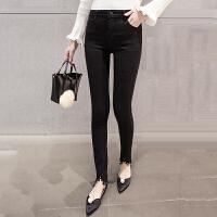牛仔裤 女士中腰磨破九分牛仔裤2020年秋季新款韩版时尚休闲女式修身洋气女装小脚裤