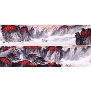著名山水画家   魏紫熙(谢稚柳题引首)《峡江万里》