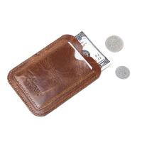 小卡包男士皮卡片包卡夹迷你零钱包公交银行卡套驾驶证皮套 棕色(GUBINTU款) 可放驾驶证