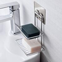 卫生间免打孔肥皂架沥水壁挂双层香皂盒不锈钢皂架创意肥皂盒浴室 双层沥水皂架