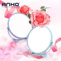 ANHO少女化妆镜圆柱底座镜子马卡龙色单面放大台镜 浴室化妆镜卧室 镜子