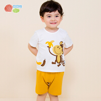 贝贝怡夏季婴儿衣服纯棉套装宝宝卡通套装162T024