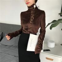 冬新款韩版高领刺绣字母打底衫加绒T恤修身女上衣潮