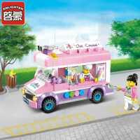 儿童女孩拼组装小颗粒兼容乐高积木玩具冰淇淋车雪糕冰激凌车
