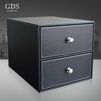 皮革办公桌面文件收纳盒两层抽屉杂志整理盒商务用品