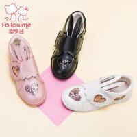 富罗迷童鞋女童鞋儿童鞋女冬季新款韩版公主鞋真皮棉鞋女童棉皮鞋