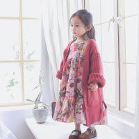 女童毛衣中长款春款韩版宽松儿童女宝宝毛线针织开衫外套1-2-3岁4 绛红色-毛线外套 预售