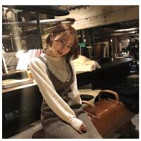 韩国INS春装百搭圆领坑条泡泡袖毛衣+拼接蕾丝背带连衣裙套装女
