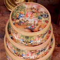 圆形收纳盒铁皮盒饼干口铁盒金属盒 点心包装盒小熊一家圆罐马口铁盒三件套曲奇饼干盒 圆形