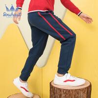【3件3折:77元】水孩儿souhait童装秋装新款男童时尚拼接针织运动裤AMD0845575