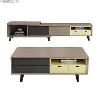 北欧家具现代简约小户型多功能升降茶几餐桌两用客厅组合方形木质 组装