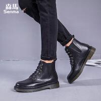 森马女鞋2017秋季新款高帮鞋女生街拍黑色皮鞋耐磨方跟马丁靴潮鞋