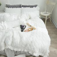 君别冬季床上四件套加厚加绒珊瑚绒被子床裙式纯白色水晶绒双面绒公主