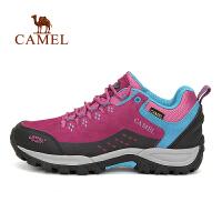 camel骆驼户外女款徒步鞋 低帮防滑减震登山徒步鞋