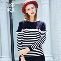【2件6折,叠加券】OSA欧莎冬装新款海军风条纹长袖圆领毛衣毛针织衫D16009