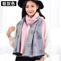 披肩女冬季围巾两用长款加厚百搭韩版花朵围脖女冬天仿羊绒