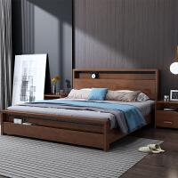 实木床主卧北欧1.8双人抽屉床1.5米储物高箱床中式现代简约新婚床