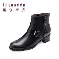 【顺丰包邮,大牌价:399】莱尔斯丹 秋冬新款欧美机车短靴拉链女靴子9T61253