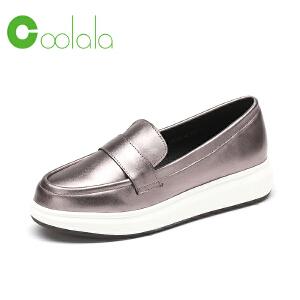 红蜻蜓coolala女鞋 2017春季新品舒适休闲真皮乐福鞋时尚女单鞋