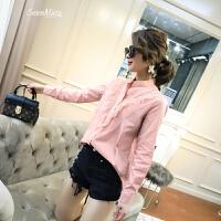 韩范衬衫女长袖春装上衣2018新款女装韩版时尚立领蕾丝花边衬衣潮 白色