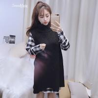 衬衫针织衫马甲两件套装女2018春装时尚学生韩版潮宽松矮个子上衣