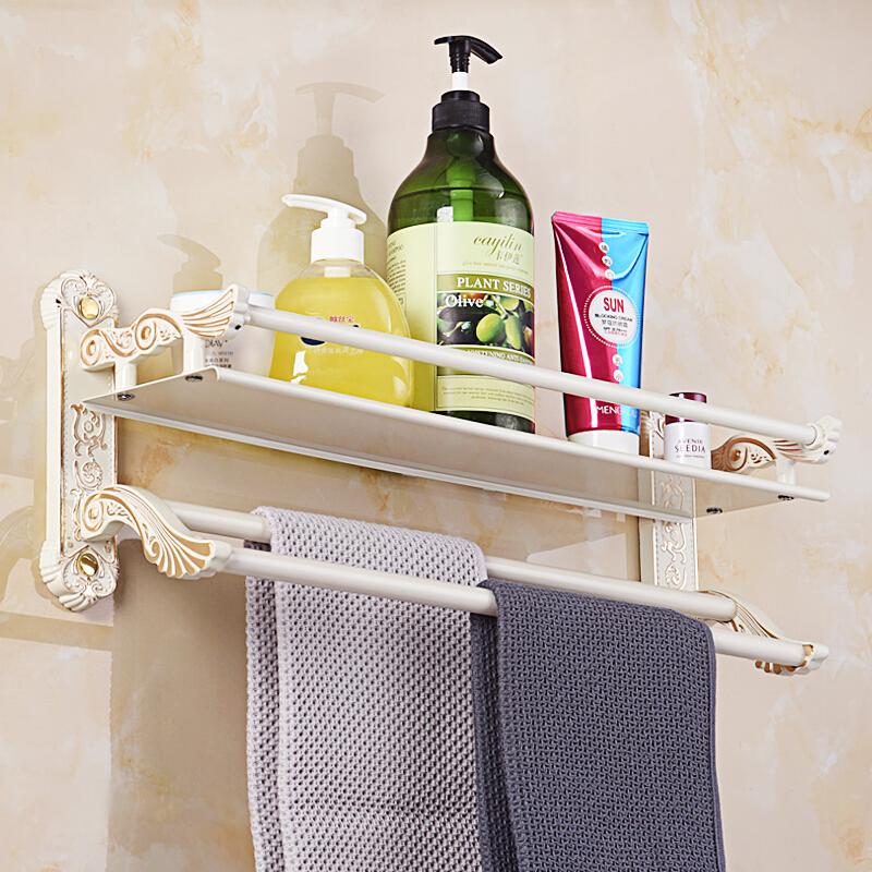 欧式毛巾架卫生间置物架壁挂白色描金卫浴挂件洗手间卫浴五金挂件 金色 双层玻璃置物架