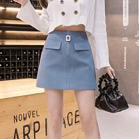 半身裙 女士高腰不规则单排扣毛呢短裙2020年秋季新款韩版时尚潮流女式修身洋气女装A字裙