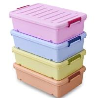 床底收纳箱 衣物整理箱 玩具收纳盒 有盖带滑轮储物箱塑料 长61宽39高17.5厘米