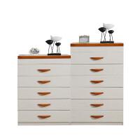 欧式五斗柜卧室简约现代收纳储物柜带化妆镜五斗橱实木拉手抽屉柜 组装
