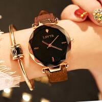 手表女学生时尚潮流韩版简约休闲大气水钻皮带防水石英表