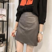 春装新款时尚高腰pu皮半身裙女皮裙显瘦黑色a字裙包臀拼接短裙子