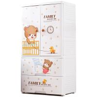 卡通儿童衣柜双开门收纳柜子抽屉式塑料五斗柜宝宝简易储物柜