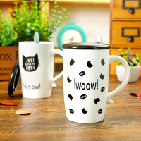 包邮 猫咪王国陶瓷杯 黑白创意马克杯 带盖 带勺咖啡杯 水杯