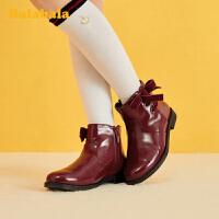 巴拉巴拉女童短靴儿童马丁靴中大童2019冬季新款靴子韩版洋气休闲