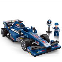 积木拼装玩具F1赛车模型拼插汽车5男孩9益智玩具6-10岁8生日礼物7