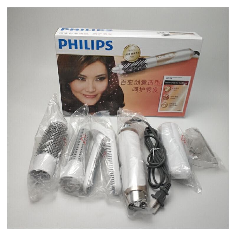 飞利浦 HP8651 直发 卷发器 多功能650W 3档 五个附件 电气石陶瓷陶瓷涂层3档调节带吹风美发造型器 用心创造更多造型。