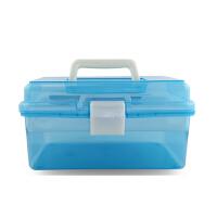 文具收纳箱 中号塑料透明工具箱 素描铅笔盒文具盒 美术用品收纳盒 天蓝色 天蓝色