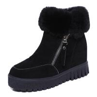 2018新款内增高女鞋磨砂短靴雪地靴棉鞋冬季加绒靴子百搭韩版学生