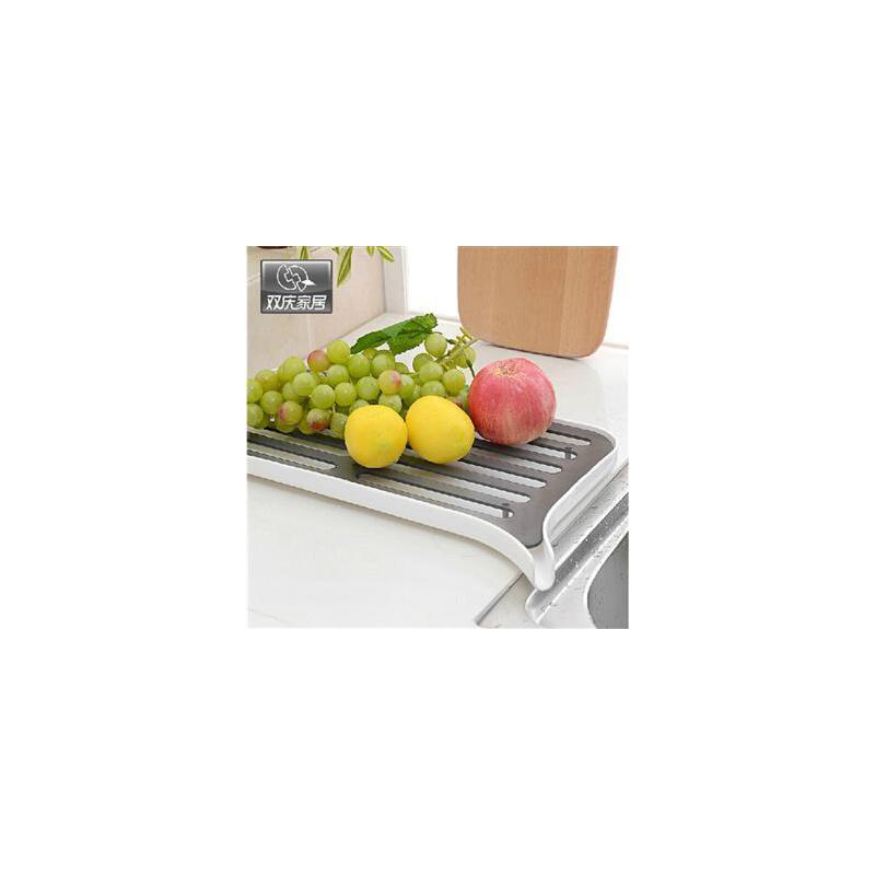 双庆家居厨房沥水置物架双层多功能沥水果蔬架滴水碗碟收纳架1080