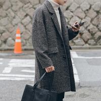 2018083008197422018新款冬季英伦风复古格子落肩毛呢大衣男中长款韩版青年宽松呢子外套潮 咖啡色 夹棉