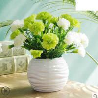 家庭小清新康乃馨仿真花套装餐桌假花小盆栽装饰假花花艺茶几客厅桌面摆件Q