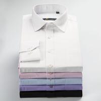 保罗琼诗男装免烫长袖衬衫商务休闲条纹男士长袖大码纯色衬衣男