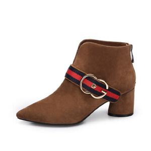 Camel骆驼女鞋 新款尖头女靴 英伦风优雅高跟 尖头短筒靴单靴复古粗跟