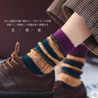 网红时尚潮流户外新品袜子棉袜纯棉加厚毛线袜拼色款高筒堆堆袜日系复古原宿风女袜