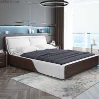 北欧皮床1.8米实木床简欧式主卧双人床婚床软床榻榻米储物床 +2柜