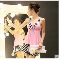 韩版时尚轻薄透气分体裙式小胸聚拢 显瘦遮肚保守大码平角泳衣女游泳装三件套