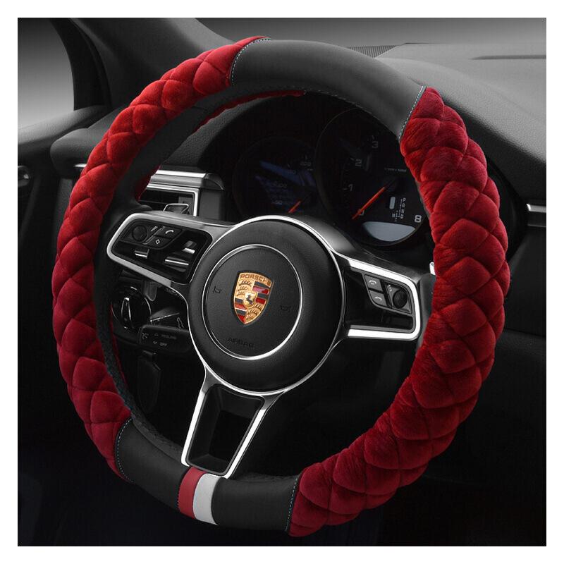 汽车方向盘套 水晶毛绒车用把套 冬季通用型把套