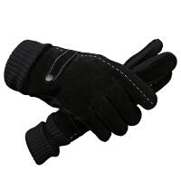手套男冬天骑行摩托车皮手套冬季保暖加绒加厚骑车防寒男士棉手套分指手套 均码